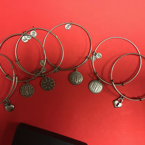 Alex and Ani six silver bracelets